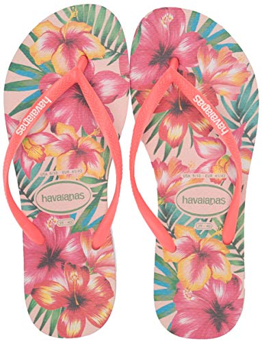 Havaianas Women's Slim Hibisco Flip Flop Sandal, Rose, 7/8 M US