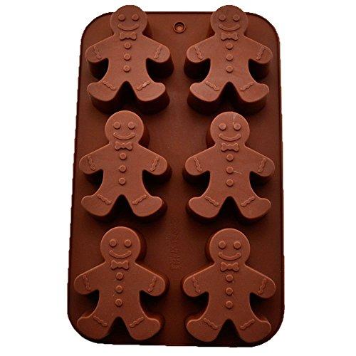 Lot de 6 moules en silicone en forme de bonhomme en pain d'épices pour la cuisson de fondants, gâteaux, chocolats, muffins, pâtisseries, outils 25,5 x 15,8 x 2,8 cm