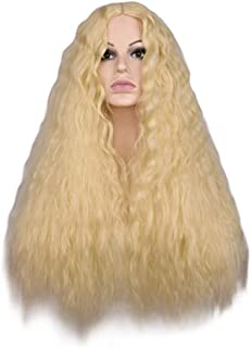 DUBKARTna Women Long Kinky Curly Wigs Black Brown Middle Part Full Heat Resistant Hair Synthetic Wig (blonde)