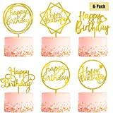 6-Pack Gold Birthday Cake Topper Set, Double-Sided Glitter, Acrylic Happy Birthday Cake Toppers...