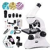 USCAMEL Microscope 100X-2000X Double LED Lentilles en Verre Optique Microscopes Monoculaires de Lab pour les Enfants Élèves Adultes École Éducation à Domicile avec des Diapositives, Kits Scientifiques