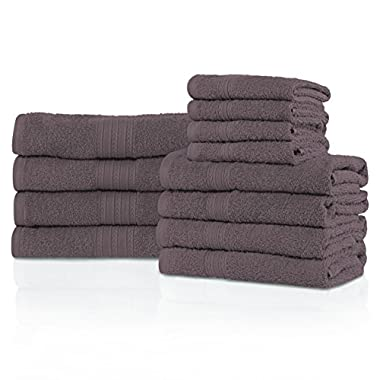 Superior Eco-Friendly 100% Ring-Spun Cotton, 12-Piece Bathroom Towel Set, Ultra Absorbent, Super Soft, Attractive Border, Graphite