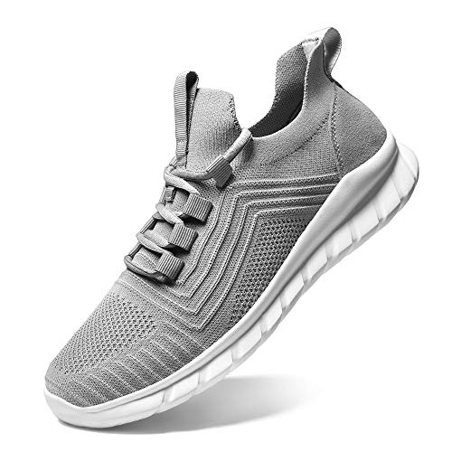 LK LEKUNI Zapatillas Running Hombre Mujer Zapatos Deporte para Correr Trail Fitness Sneakers Ligero Transpirable-Gris01-44