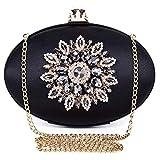 BAIGIO Pochette Donna Elegante Nera Clutch Cerimonia Vintage Borsetta da Sera Borsa per Matrimonio Sposa Party in Seta e Diamante