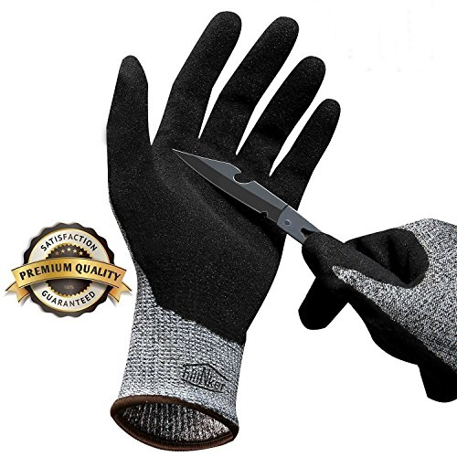 Hilinker Cut Resistant Gloves Highest Performance Knife Scissors Hands & Body EN388 Level 5 Protection Kitchen Work Safety Hand Protector Lightweight Durable Comfortable Indoor Outdoor Use Large