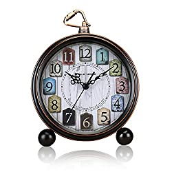 ALEENFOON 5 Inch Classic Retro Alarm Clock, Non Ticking Silent Metal Vintage Antique Table Desk Shelf Quartz Clock, Battery Operated Loud Wake up Alarm Clocks for Bedsides Bedroom Travel Kids