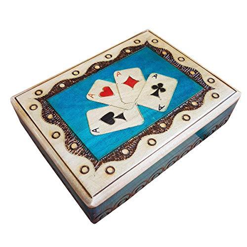 Houten Dubbele speelkaart Opbergdoos in blauwe kleur