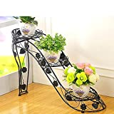 ★STABLE DESIGN: The stand bending foot design increases the stability of the iron frame and provide more stable support. Convenient to drain with its tier hollowed design. ★STRONG BEARING: This garden plant rack features strong bearing capacity. 1.En...