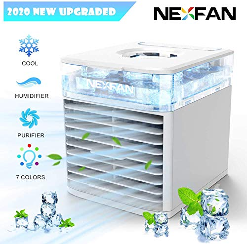 NEXFAN Portable Air Conditioner Fan, Super Quiet Humidifier Misting Fan, with 7 Colors Light Changing, Touch Control 3 Fan Speed,USB Charging,Leak Proof Water Icebox Tank,for Home Office Bedroom