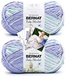 Bernat Baby Blanket Yarn - Big Ball (10.5 oz) - 2 Pack with Pattern Cards in Color (Posy Purple)
