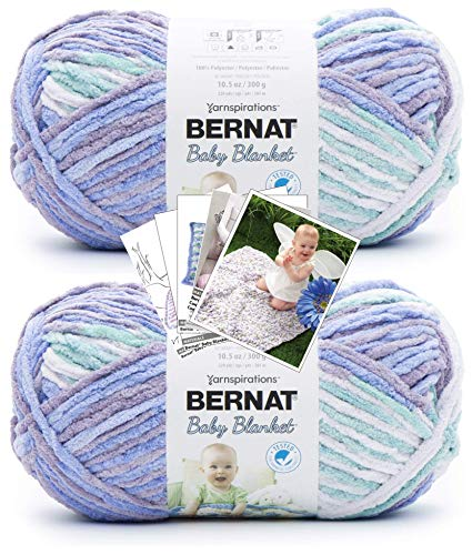Bernat Baby Blanket Yarn - Big Ball (10.5 oz) - 2 Pack with Patterns (Posy Purple)