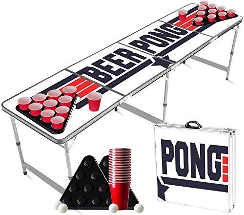 Offizieller Top Gun Beer Pong Tisch Set | Full Beer Pong Pack | 1 Beer Pong Tisch + 2 Beer Pong Rack + 22 Rot Becher 53cl + 4 Bälle | Trinkspiele | OriginalCup®