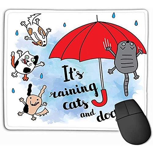 Aangepaste muis Pad,30X25CM Unieke bedrukte muismat ontwerp s regenende katten honden herfst kaart vallen regendruppels paraplu heldere ansichtkaart geometrisch