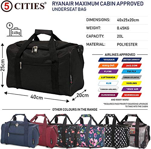 5 Cities 40x20x25 New and Improved 2021 Ryanair Maximum Sized Under Seat Cabin Holdall Travel Flight Bag – Take The Max on Board!(Black + Cities)