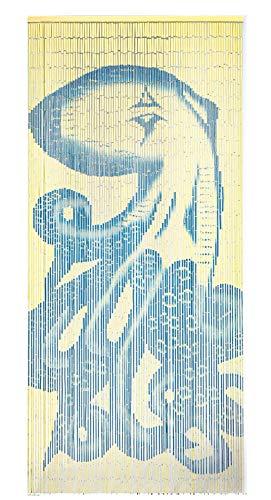 TACHILC Octopus Bamboo Bead Door Curtain, Beaded Doorway Curtain, Bamboo Curtain for Door Decoration