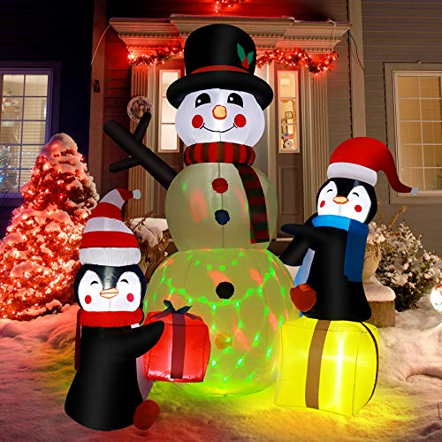 ZALALOVA Christmas Inflatable Decorations, 7ft (Height) x 5.9ft (Length) Christmas Outdoor Decoration w/Colorful Rotating LED Lights Inflatable Snowman Penguin for Outdoor Christmas Decorations Yard