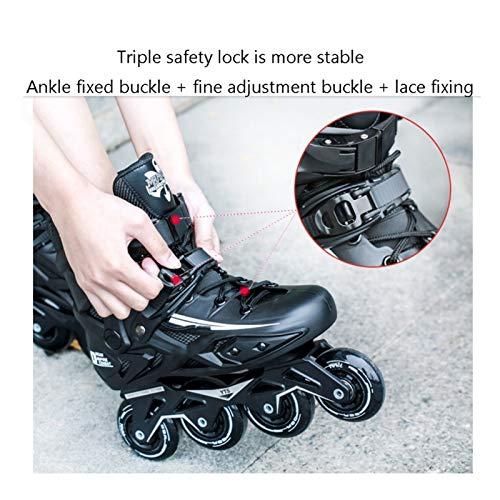 mfw@wewe Outdoor Men's Adult Breathable Black Inline Skates Combo,Professional High-end Speed Roller Skates For Beginner And Teen (Color : A, Size : 41 EU/8 US/7 UK/25.5CM JP)