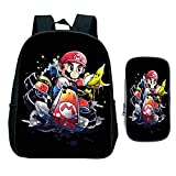 Kindergarten Schule Rucksack, Kinder Super Mario Smash Bros Kinder Cartoon Anime Primary Rucksack Geschenk, 2 Stück Set Büchertasche mit Stift Tasche