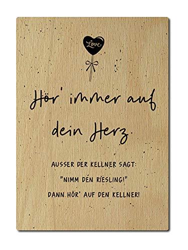 Interluxe houten briefkaart Hor altijd op je hart wijn, kelder, DIN A6, 105 x 148 mm, kaart echt hout, wenskaart spreuk