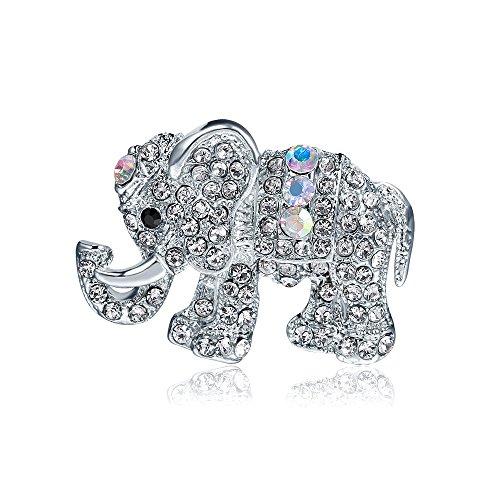 Stockton 1X Mode Persönlichkeit Elefanten Frauen Brosche Strass Bedeckt Schal Schal Clip Für Frauen Damen Mädchen
