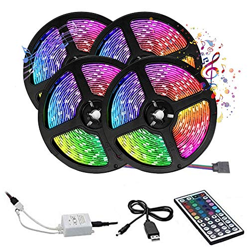 Tira de LED de 20 m con luz LED 3528 RGB multicolor USB con mando a distancia, 44 teclas cable USB recortable, decoración para casa, dormitorio, cocina, jardín, fiesta, (no impermeable, 20 m)