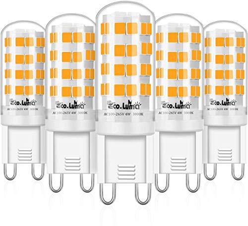 Eco.Luma G9 LED Lampe 4W / 410LM Leuchtmittel Ersatz 28W 33W 40W Halogenlampen Warmweiss 3000K Kein Flackern LED Birnen Nicht Dimmbar AC 100-265V 5er Pack