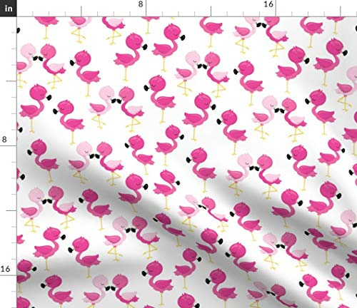 Spoonflower Fabric - Flamingos Flamingo Bird Birds Pink Summer Beach Printed on Petal Signature Cotton Fabric by The Yard - Sewing Quilting Apparel Crafts Decor