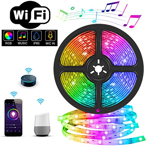 LED Streifen,WiFi LED Streifen 5M Set Smart Phone APP Kontrolle mit Alexa,Google Home,IFTTT,RGB LED band,IP65 Wasserdicht für Beleuchtung Deko, Küche, Terrasse, Deko Party Weihnachten und ganzes Haus
