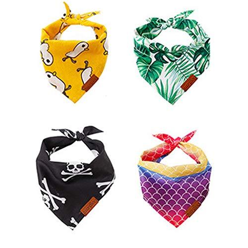 Zeraty Dog Bandana Bandana para Perros | Hoja Verde, Pato, Sirena, patrón Fantasma | Pack de 4 Bufandas para Mascotas | Triangle Bids Bandana Suave para Gatos pequeños y Grandes