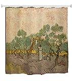 A.Monamour Duschvorhänge Die Oliven-Obstgarten Frauen Kommissionierung Oliven Von Vincent Van Gogh Ölgemälde Lange Stoff Duschvorhang Set Mit Haken, Kein Liner Benötigt 150X180 cm / 60