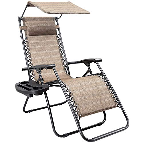 Devoko Patio Zero Gravity Chair Outdoor Recliner Lounge Chair with W/Folding Canopy Shade and Cup Holder (Beige)