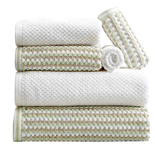 6-Piece Towel Set. 100% Cotton Multi-Striped Bathroom Towels. Quick Dry and Absorbent Towels. Set Includes 2 Bath, 2 Hand, and 2 Wash. Milos Collection. (6 Piece, Eucalyptus / Beige)