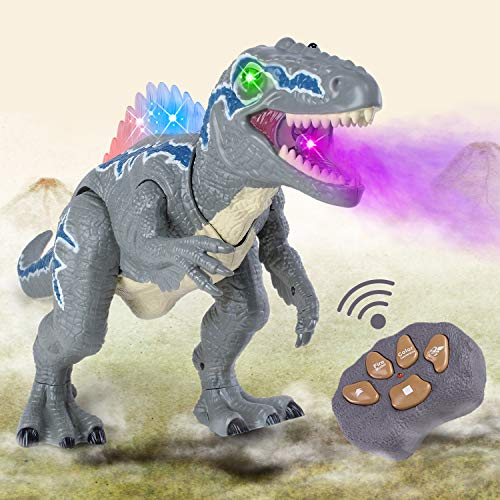 WESPREX Remote Control Walking Dinosaur T-Rex with Water Mist Spray, LED Light Up Eyes & Back, Roaring Sound, Realistic Tyrannosaurus, Toy for Boys Kids Girls Ages 3 4 5 6 7 Year Old