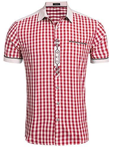 Burlady Trachtenhemd Herren Hemd Kariert Oktoberfest Cargohemd Baumwolle Freizeit Hemden Super Qualität- Gr. L, Kurz-Winerot