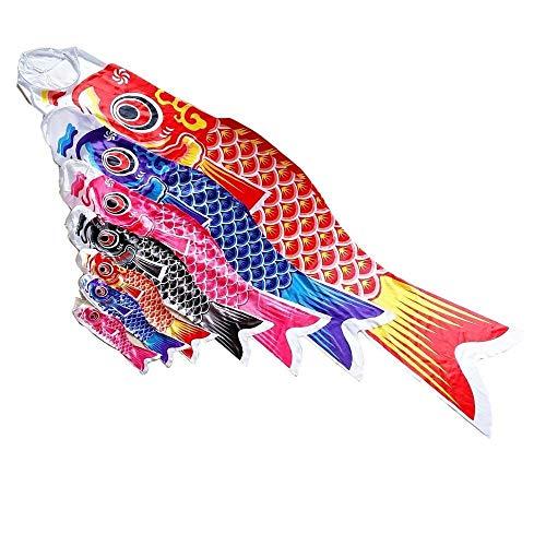 WDFDZSW Strella de Carpa Japonesa Calcetines de Viento Koi Nobori Pescado Logo Kite Logo Japonés Koinobori Día de los niños Año Black, Size : About 40cm