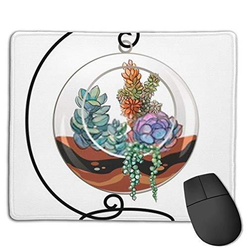Mousepad-Sukkulenten in einem dekorativen Aquarium für Blumen Mausmatte, mittelgroßes Gaming-Mauspad mit wasserfester Oberfläche, rutschfeste Gummibasis