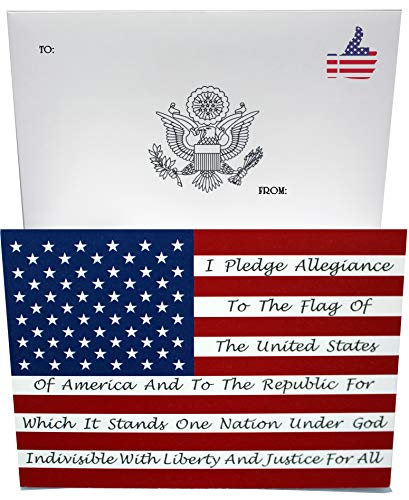 Congratulation greeting card with American flag, Pledge of Allegiance and Uncle Sam print (One Pack)