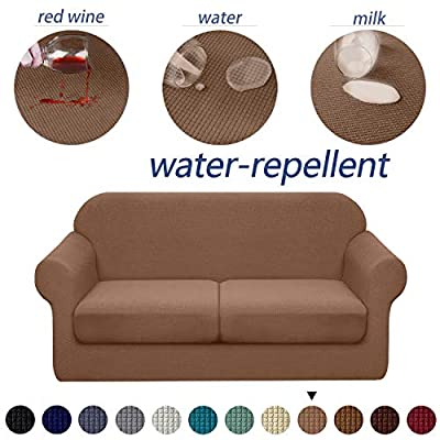 Granbest 3 Piece Premium Water-Repellent Couch Slipcover for 2 Cushion Couch Super Soft Loveseat Sofa Covers High Stretch Separate Cushion Couch Covers for Dogs Furniture Cover (Medium, Khaki)