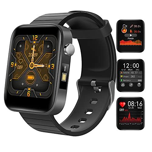 HQPCAHL Smartwatch Reloj Inteligente Mujer Hombre con Frecuencia Cardíaca/Temperatura/Sueño/Presión Arterial/Oxígeno En Sangre, Reloj Deportivo con Linterna, Pulsera Actividad Inteligente,Negro