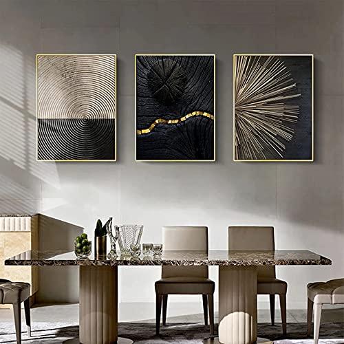 ConBlom Set di Stampe da Parete, linee di anelli annuali in oro bianco e nero nordico, 3 Pezzi Premium Poster Quadri Moderni Soggiorno Poster Abbinati per Camera da Letto Soggio (40 x 50 cm)