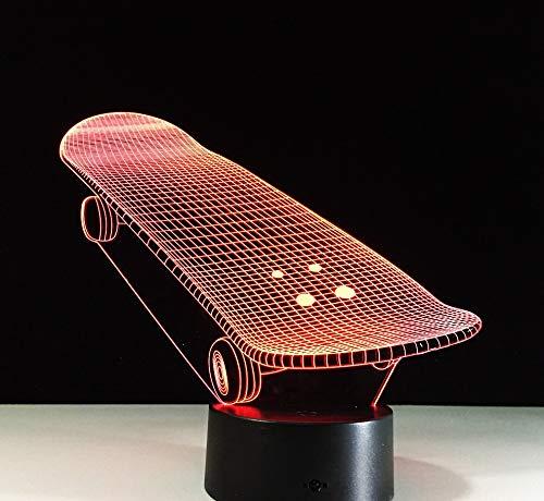 3D Illusie Lampada 3D illusione creativa Skateboard Led Night Light 7 Kleurrijke verandering Atmosfera Lampada Bambini Camera da letto Illuminazione per Bambini Regali per Bambini