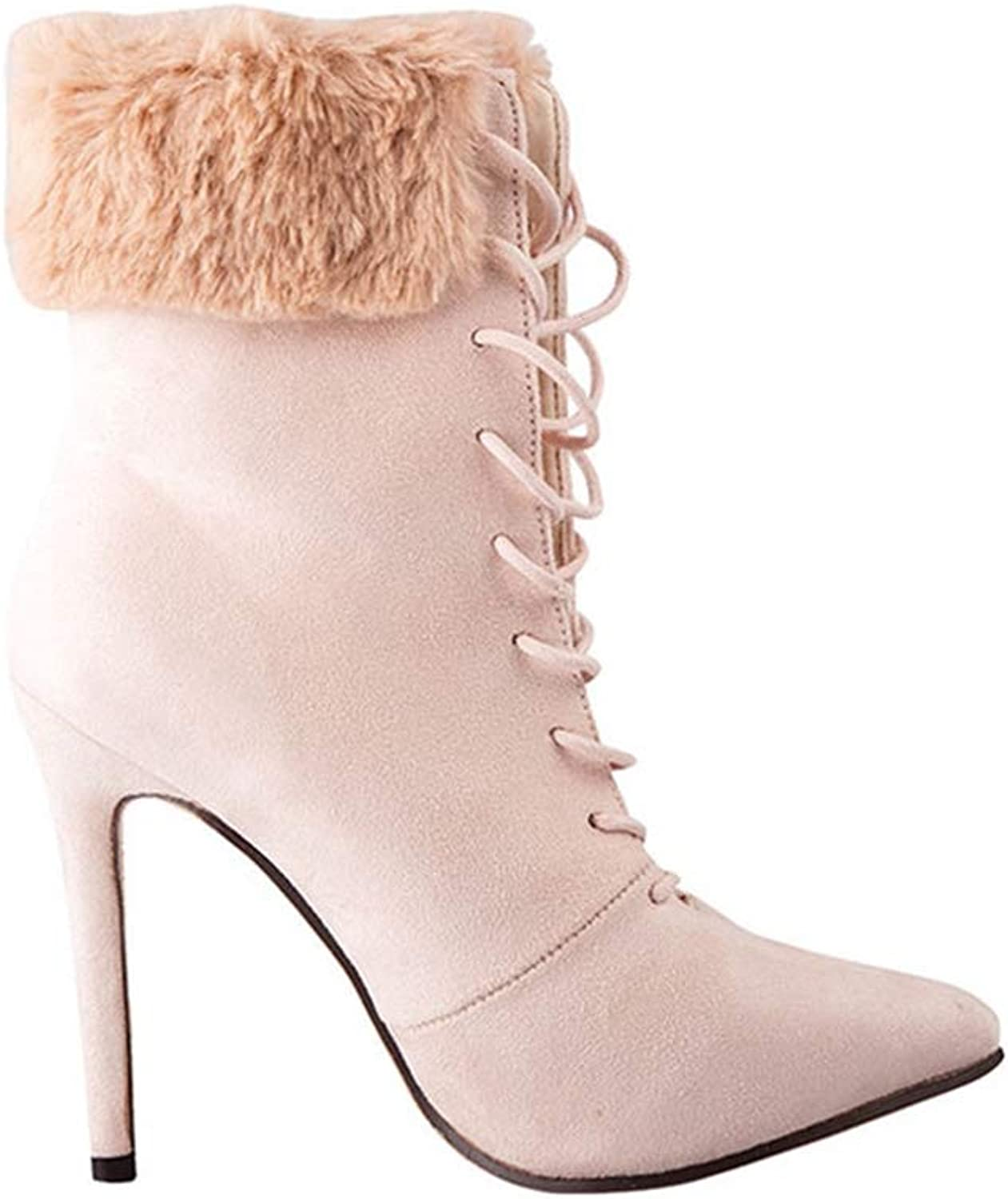 Woman Ankle Boots Lace Up Faux Fur Pointed Toe High Thin Heel Ladies Sexy Fashion Party Winter Short Boots