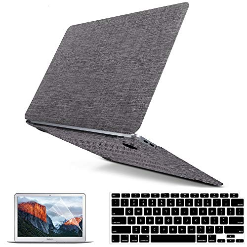 Macbook Air 13 Inch Case 2020 2021 2019 2018 Release M1 A2337 A2179 A1932, Macbook Air Case Laptop Cover Fabric Coated Plastic Hard Shell Case & Keyboard Cover Skin & Screen Protector & Touchpad Cover