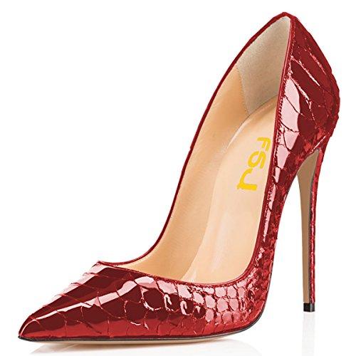 FSJ Women Formal Pointed Toe Pumps High Heel Stilettos Sexy Slip On Dress Shoes Size 10 Red Snake