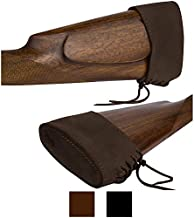 BRONZEDOG Slip On Recoil Pad Genuine Leather Buttstock Extension for Shotguns Rifles Hunting Shooting Brown Black (Brown)