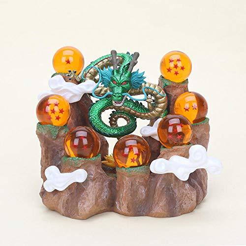 CYFLYJ Kreatives Geschenk Tischplattendekoration Sammlung Spielzeug Son Goku Shenlong Shenron Kristallkugeln Gebirgshintergrund PVC Figur Modell Spielzeug-metallic 4cm No Box