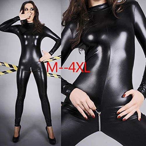 YARUDRESS Frauen Sexy Body, Mit Zipper Party Hose Lackleder Jumpsuit Nightclub, Für Damen Hautengen Kostüm Body,M