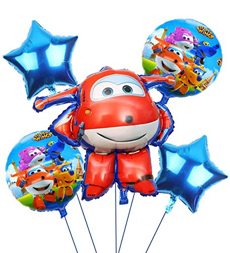 Super Wings Party Supplier Jett Airplane Foil Balloon for Kids Party Birthday Decorations