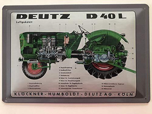 Blechschild 30 x 20 cm Deutz Traktor Tpy D40L - Deko7