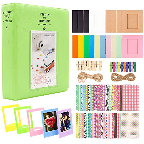 SSSabsir Photo Paper Film Album Set for Fujifilm Instax Mini Camera, Polaroid Snap, Z2300, SocialMatic Instant Cameras & Zip Instant Printer Grass green